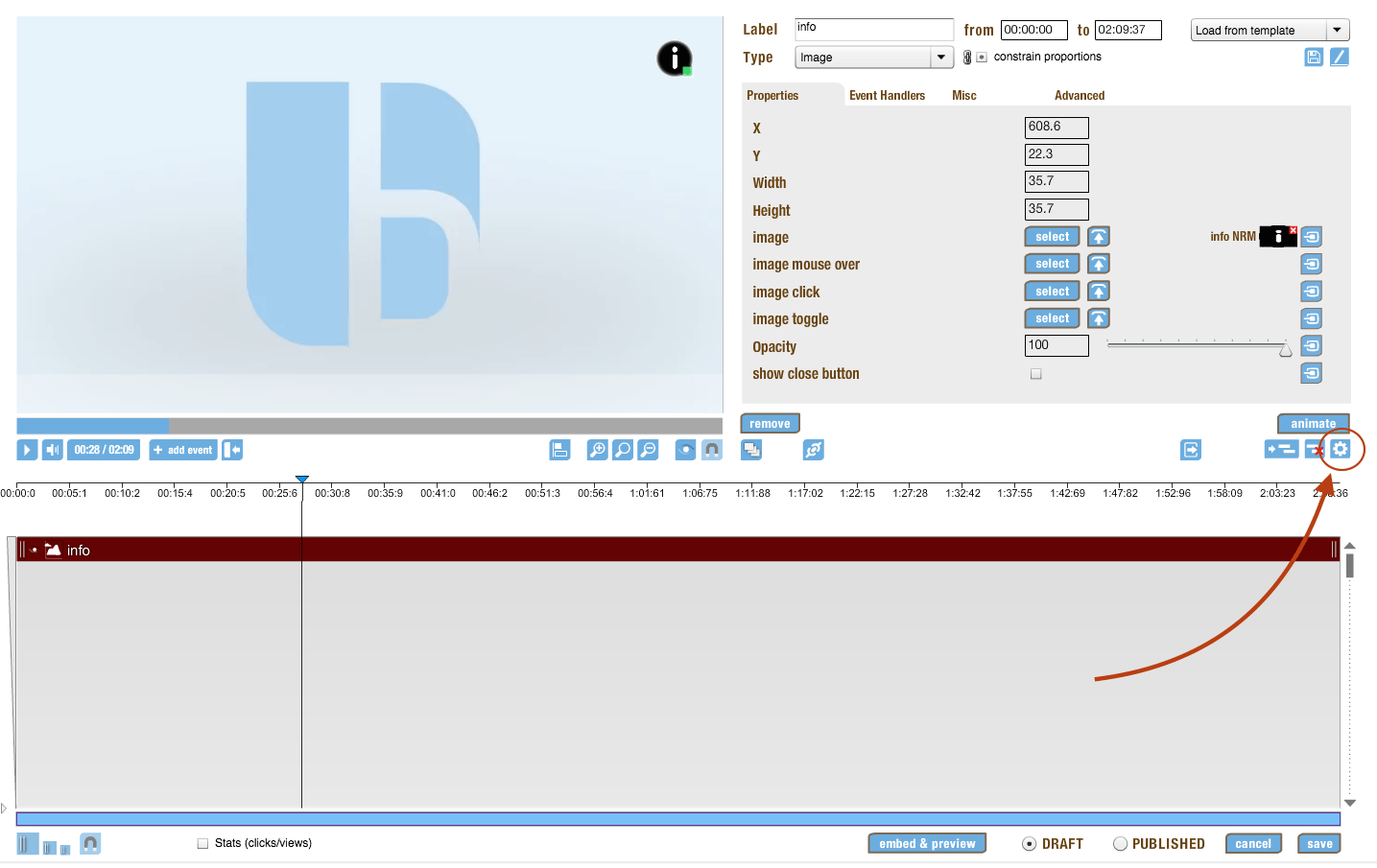 settings in the timeline editor