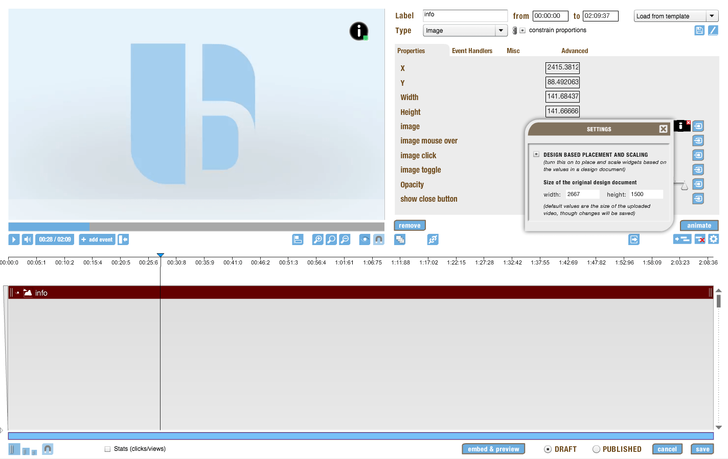 information in the timeline editor