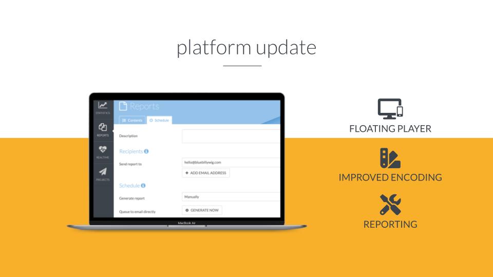 Header image for Platform update – floating player, encoding & reporting